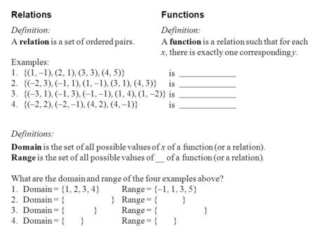 Relations Functions Definition: Definition: