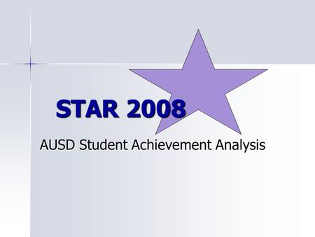 AUSD Student Achievement Analysis STAR 2008. Over-arching Goal: Increase achievement for all students while closing the achievement gap in English/language.