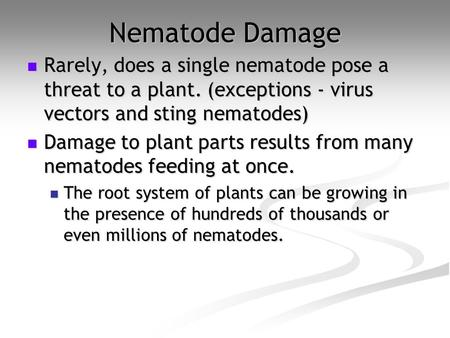 Nematode Damage Rarely, does a single nematode pose a threat to a plant. (exceptions - virus vectors and sting nematodes) Damage to plant parts results.