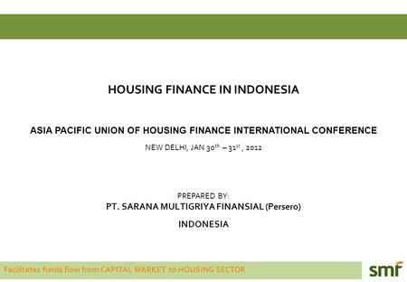 Facilitates funds flow from CAPITAL MARKET to HOUSING SECTOR HOUSING FINANCE IN INDONESIA ASIA PACIFIC UNION OF HOUSING FINANCE INTERNATIONAL CONFERENCE.