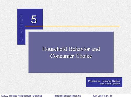 Household Behavior and Consumer Choice