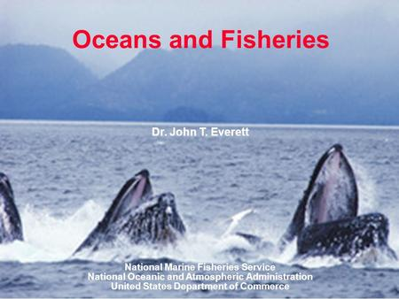 Oceans and Fisheries Dr. John T. Everett National Marine Fisheries Service National Oceanic and Atmospheric Administration United States Department of.