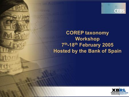 COREP taxonomy Workshop 7 th -18 th February 2005 Hosted by the Bank of Spain.