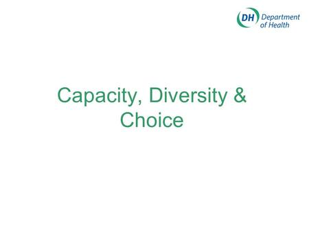Capacity, Diversity & Choice What is all this for? To improve the patient experience by providing fast, fair, convenient high quality services which.
