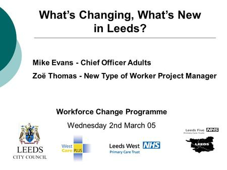 Whats Changing, Whats New in Leeds? Mike Evans - Chief Officer Adults Zoë Thomas - New Type of Worker Project Manager Workforce Change Programme Wednesday.
