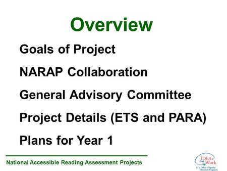 National Accessible Reading Assessment Projects Goals of Project NARAP Collaboration General Advisory Committee Project Details (ETS and PARA) Plans for.