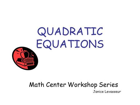 Math Center Workshop Series