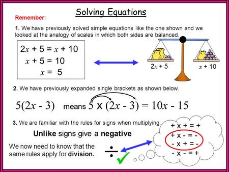   Refresher 5(2x - 3) Solving Equations 2x + 5 = x + 10 x + 5 = 10