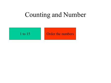 Counting and Number 1 to 15Order the numbers. 123456789101112131415 Numbers to 15.