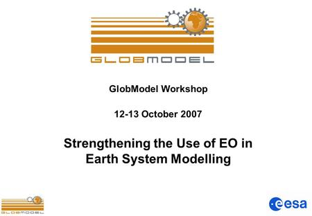 GlobModel Workshop 12-13 October 2007 Strengthening the Use of EO in Earth System Modelling.