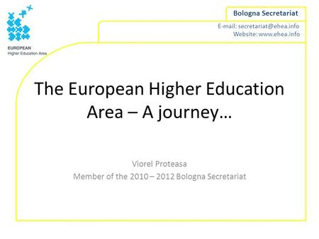 The European Higher Education Area – A journey…