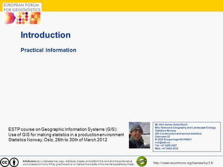 Introduction Practical information