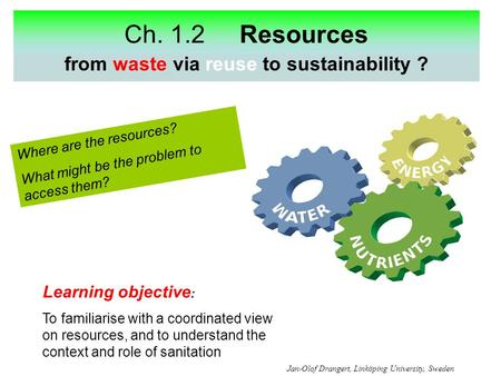 Ch. 1.2 Resources energy from waste via reuse to sustainability ? Where are the resources? What might be the problem to access them? Learning objective.