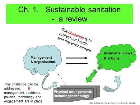 Ch. 1. Sustainable sanitation - a review Management & organisation Residents´ views & actions Physical arrangements including technology The challenge.