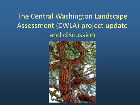 The Central Washington Landscape Assessment (CWLA) project update and discussion.