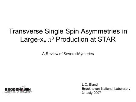 Transverse Single Spin Asymmetries in Large-x F Production at STAR A Review of Several Mysteries L.C. Bland Brookhaven National Laboratory 31 July 2007.