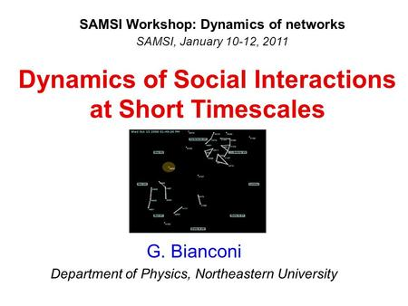 Dynamics of Social Interactions at Short Timescales G. Bianconi Department of Physics, Northeastern University SAMSI Workshop: Dynamics of networks SAMSI,