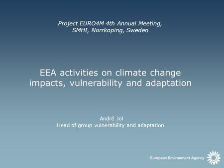 EEA activities on climate change impacts, vulnerability and adaptation