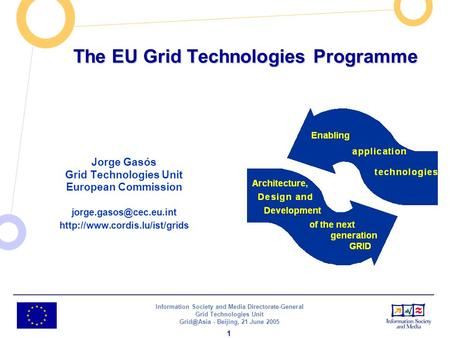 Information Society and Media Directorate-General Grid Technologies Unit - Beijing, 21 June 2005 1 The EU Grid Technologies Programme Jorge Gasós.