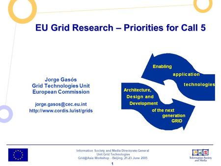 Information Society and Media Directorate-General Unit Grid Technologies Workshop - Beijing, 21-23 June 2005 1 EU Grid Research – Priorities.