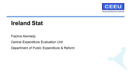 Ireland Stat Fiachra Kennedy Central Expenditure Evaluation Unit Department of Public Expenditure & Reform.