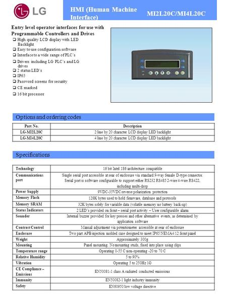 LG HMI (Human Machine Interface) MI2L20C/MI4L20C