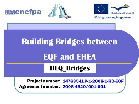 Building Bridges between EQF and EHEA HEQ_Bridges Project number: Agreement number: 147635-LLP-1-2008-1-RO-EQF 2008-4520/001-001.