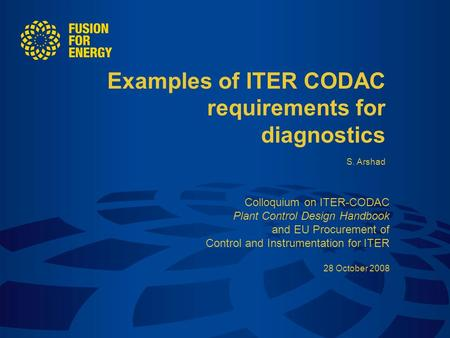 Examples of ITER CODAC requirements for diagnostics