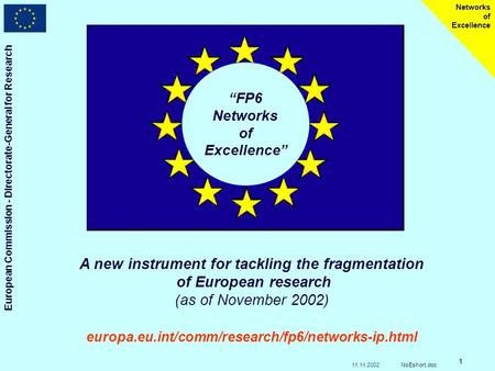 European Commission - Directorate-General for Research Networks of Excellence 11.11.2002NoEshort.doc 1 FP6 Networks of Excellence A new instrument for.