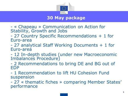 30 May package - « Chapeau » Communication on Action for Stability, Growth and Jobs - 27 Country Specific Recommendations + 1 for Euro-area - 27 analytical.