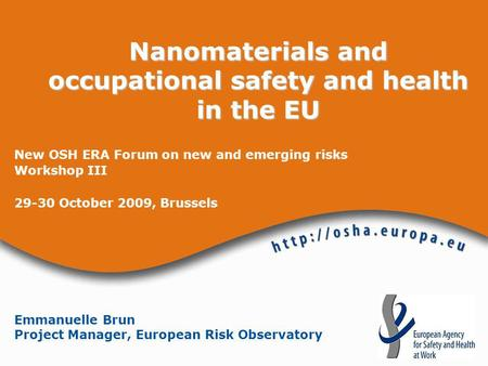 Nanomaterials and occupational safety and health in the EU