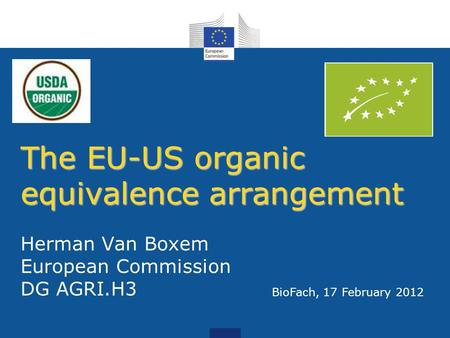 The EU-US organic equivalence arrangement