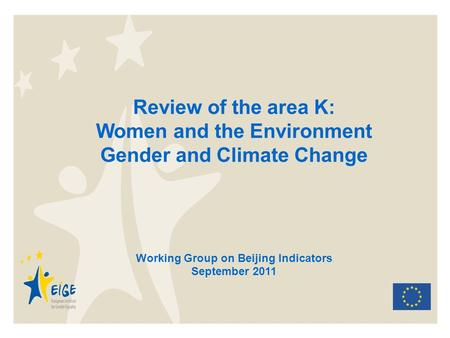 Review of the area K: Women and the Environment Gender and Climate Change Working Group on Beijing Indicators September 2011.