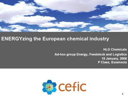 1 ENERGYzing the European chemical industry HLG Chemicals Ad-hoc group Energy, Feedstock and Logistics 15 January, 2008 P Claes, Essenscia.
