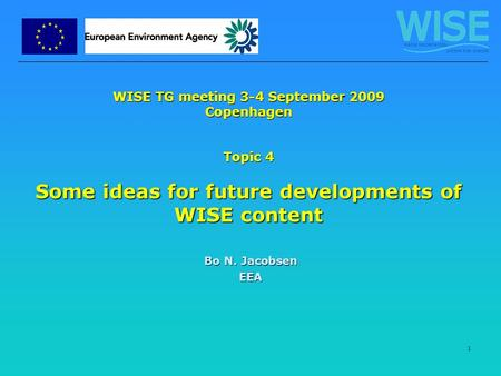 1 WISE TG meeting 3-4 September 2009 Copenhagen Topic 4 Some ideas for future developments of WISE content Bo N. Jacobsen EEA.
