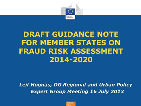 DRAFT GUIDANCE NOTE  FOR MEMBER STATES ON FRAUD RISK ASSESSMENT