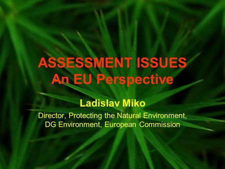 ASSESSMENT ISSUES An EU Perspective Ladislav Miko Director, Protecting the Natural Environment, DG Environment, European Commission.