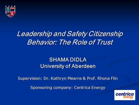 Leadership and Safety Citizenship Behavior: The Role of Trust