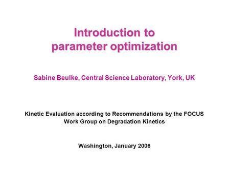 Introduction to parameter optimization