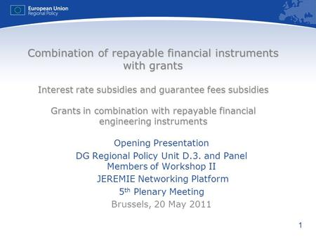Combination of repayable financial instruments with grants Interest rate subsidies and guarantee fees subsidies Grants in combination with repayable.