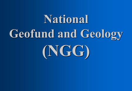 National Geofund and Geology (NGG)