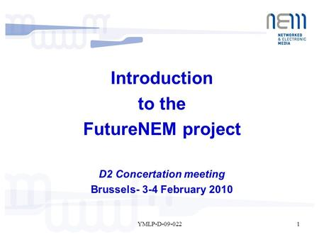 1YMLP-D-09-022 Introduction to the FutureNEM project D2 Concertation meeting Brussels- 3-4 February 2010.