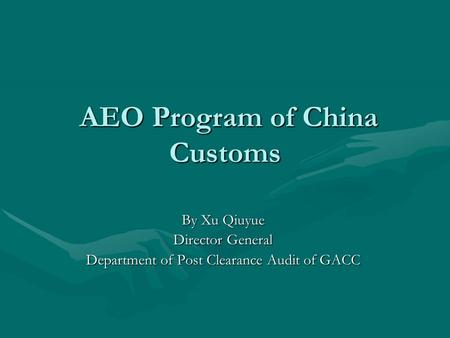AEO Program of China Customs