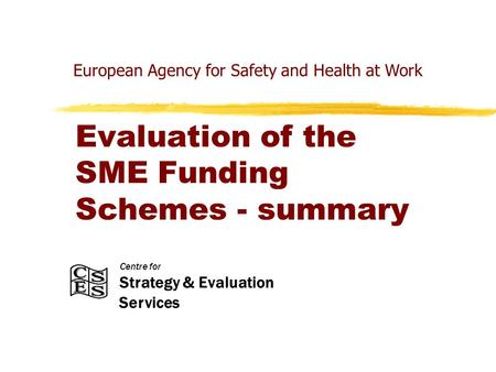 Centre for Strategy & Evaluation Services Evaluation of the SME Funding Schemes - summary European Agency for Safety and Health at Work.