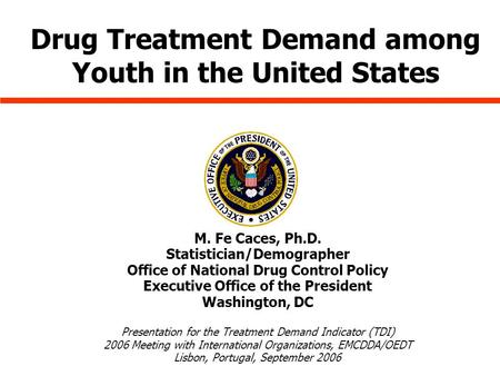 M. Fe Caces, Ph.D. Statistician/Demographer Office of National Drug Control Policy Executive Office of the President Washington, DC Presentation for the.