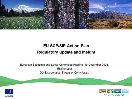 EU SCP/SIP Action Plan Regulatory update and insight European Economic and Social Committee Hearing, 10 December 2008, Bettina Lorz DG Environment, European.