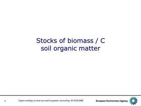1 Stocks of biomass / C soil organic matter Expert meeting on land use and Ecosystem accounting 18./19.05.2006.