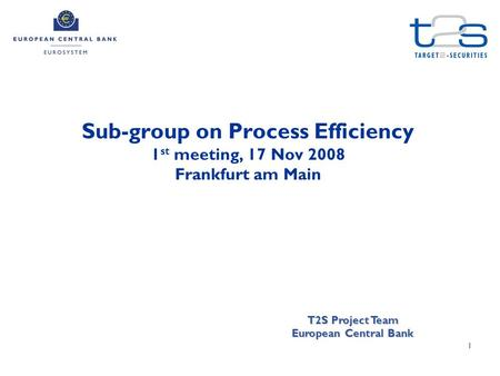 1 Sub-group on Process Efficiency 1 st meeting, 17 Nov 2008 Frankfurt am Main T2S Project Team European Central Bank.