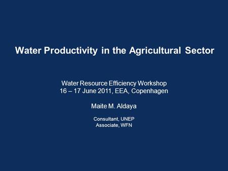 Water Productivity in the Agricultural Sector