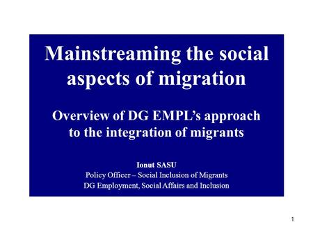Mainstreaming the social aspects of migration
